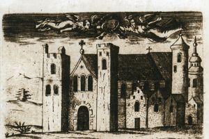 """Rycina z 1631 r. ukazująca zrujnowaną katedrę z dramatycznym napisem ze starotestamentowej Księgi Izajasza: """"Ruina sub manu tua"""" (Weźmijże w ręce tę ruinę)."""