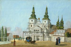 Wygląd katedry z przebudowaną klasycystyczną fasadą zachodnią i nowymi hełmami wież według projektu architekta królewskiego Bonawentury Solariego z Warszawy.