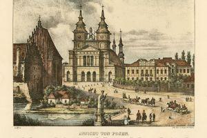 Widok katedry i zabudowań Ostrowa Tumskiego przedstawia litografia według rysunku Juliusa Minutoliego z 1833 r.