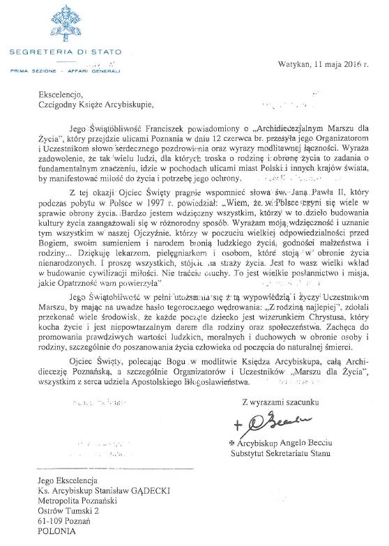 Oglądasz obraz z artykułu: Papież Franciszek pozdrawia Poznań